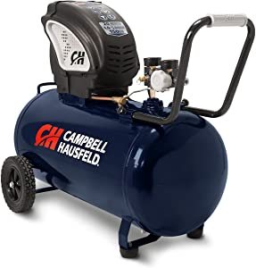Air Compressor, Portable, Horizontal, 20 Gallon, Oil-Free, 4 CFM @ 90 PSI, 150 PSI (Campbell HausfeldDC200000)