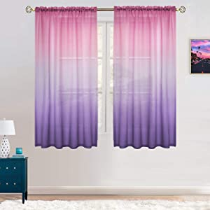 Faux Linen Ombre Sheer Curtains for Bedroom Girls Room Decor, Two Tone Curtain Drapes Light Filtering Semi Gradient Rod Pocket Window Treatment 2 Panels for Living Room (42 x 63 Inch, Pink and Lilac)