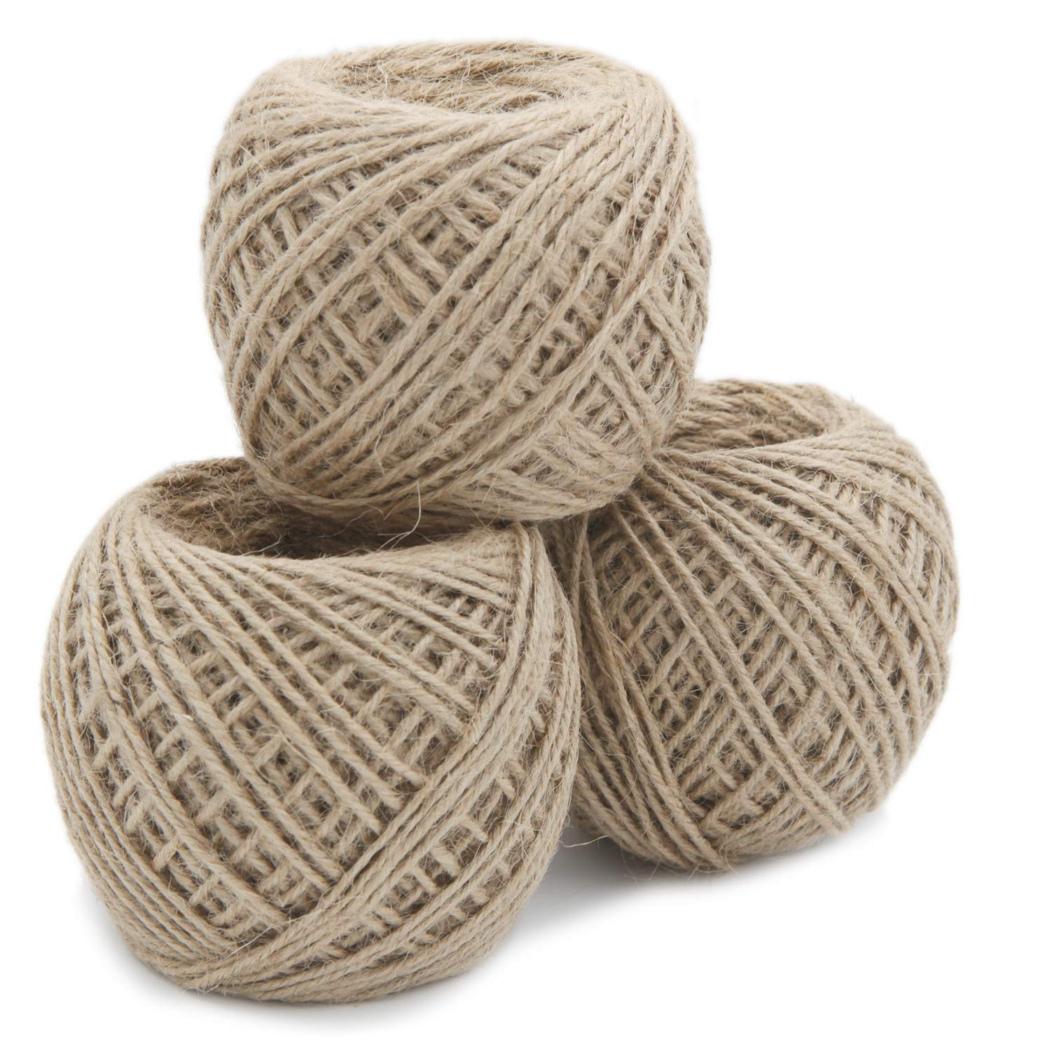 JONYEE Jute Twine String//Rope for Crafts,Gardening,Wrapping,Packing Picture Hanging and Decoration 984 Feets//328 Yards 3 PLY,2MM,3 Rolls,328 Feets per Roll