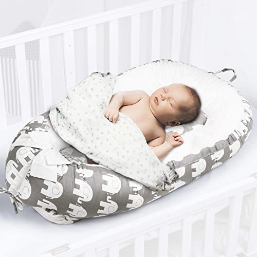 UAU Baby Nest Baby Lounger Soft Baby Bed Portable Crib,100 Cotton Breathable Newborn Lounger,Baby Shower Gifts Essential Elephant