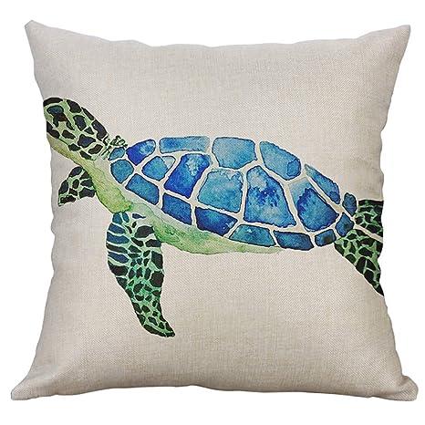 CHshe👉 Funda de cojín 50X50 cm, Marine Life Sea Turtle ...