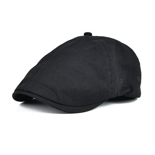 VOBOOM Cotton Washing Flat Cap Cabbie Hat Gatsby Ivy Irish Hunting Newsboy  (Black) 9477cc505203