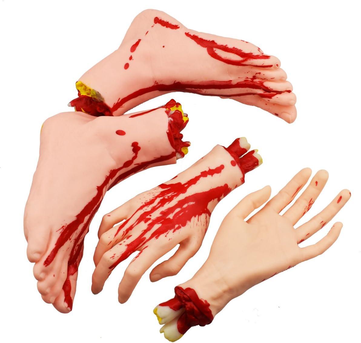 XONOR Halloween cortó Las Manos los pies Conjunto de Piezas de Cuerpo Sangriento y Aterrador Decoraciones de Accesorios de Halloween, 4 Piezas (pies y Manos) (Color de Piel)