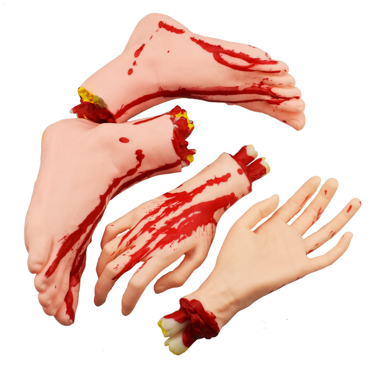 XONOR Halloween Severed Hands Feet Set Scary Bloody Broken Body Parts Halloween Props Decorations, 4 Pieces(Feet & Hands) (Skin Color)