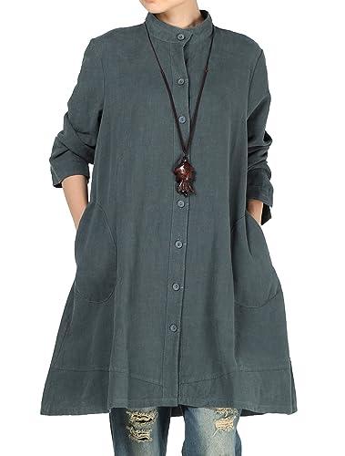 Vogstyle Mujer de algodón de otoño de lino Full Front Button Shirt Dress con bolsillos CY012