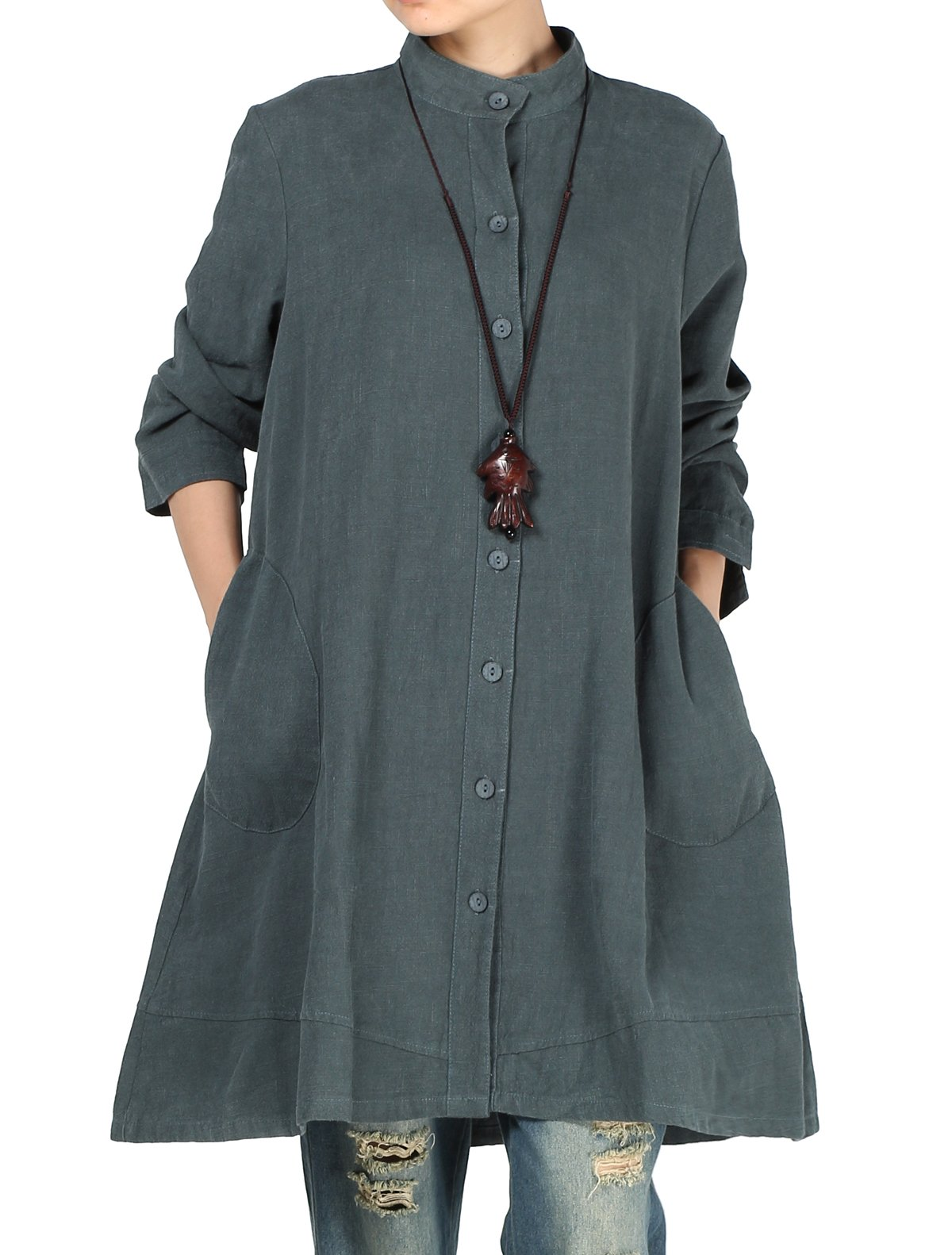 Mordenmiss Women's Cotton Linen Full Front Buttons Jacket Outfit with Pockets Style 1 L Dark Green