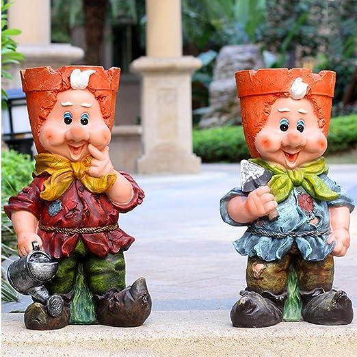 Estatuas para Jardín Tortuga Elf Maceta Impermeable Jardín Esculturas para El Patio del Césped del Paisaje Adornos De Jardín: Amazon.es: Hogar
