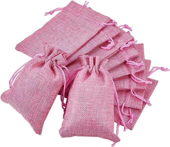 Imagen deBENECREAT 30 PCS Bolsas de Arpillera con Cordón Envase de Regalo Color de Rosado para Fiesta Boda y Almacenamiento de Cosas Pequeñas 14.3x10.5cm