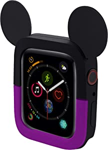 Lovely Cartoon Mouse Ears TPU Protective Cover for I Watch 40mm and 44mm, Soft Silicone Protector Bumper Frame Protective Double Color Case for iWatch Series 4 Girls Boys (Purple, 40MM)