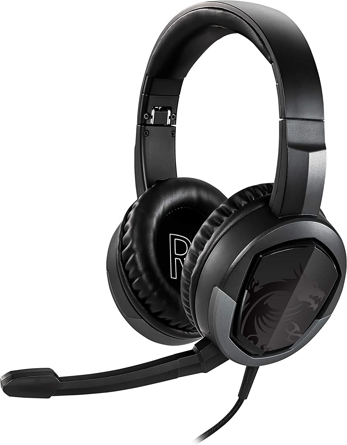 MSI Gaming Detachable Microphone Lightweight and Foldable Headband Design 7.1 Surround Sound Stereo Gaming Headphone (Immerse GH30 V2), Black, Large