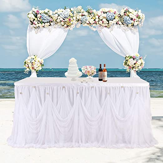 9ft White Tulle Tutu Table Skirt Cover Party Catering Wedding Birthday Decor