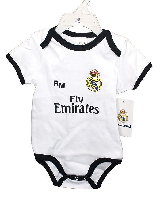 Real Madrid FC Body Niños - Producto Oficial Primera equipación 2018/2019 (1 Mes