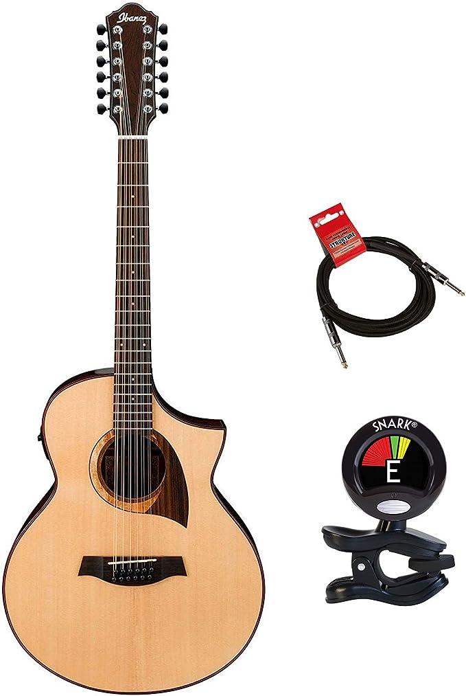 Ibanez exótico madera aew2212cd-nt acústica de 12 cuerdas guitarra ...