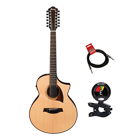 Ibanez exótico madera aew2212cd-nt acústica de 12 cuerdas guitarra eléctrica paquete en acabado Natural