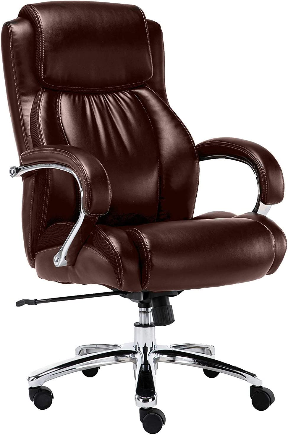 Big and Tall 500 pounds Body Weight Support, Executive Office Chair, Heavy Duty Shiny Bonded Leather, Swivel and tilt, Chrome arms with Extra Thick Padding, Height Adjustment Brown
