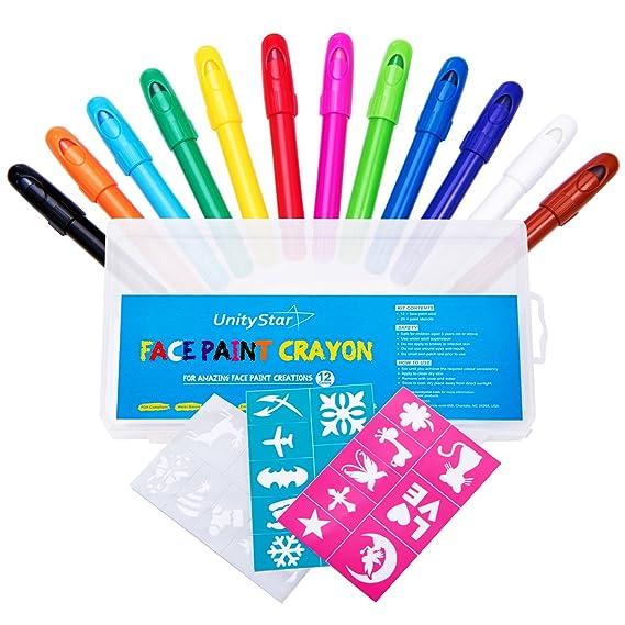UnityStar Face Crayons, Face Paint Kit con 12 Twist up Sticks + 24 Bono pintura plantillas para niños partes cumpleaños Halloween cara pintura juegos, ...