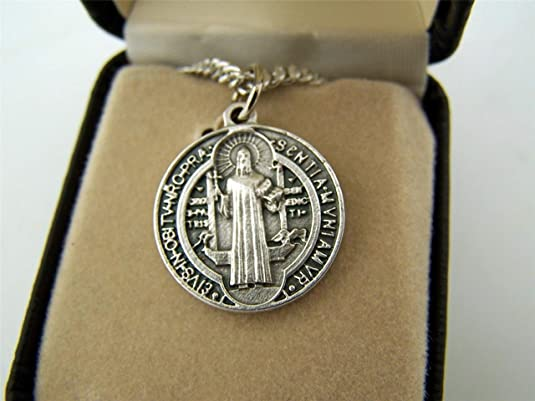 Creed Silver Toned Base Saint Benedict Patron Against Evil Exorcism Medal 3//4 Inch