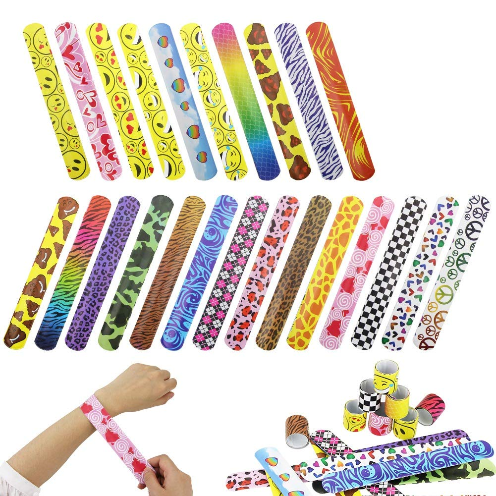 ZILONG 72 PCs Slap Bracelets Party Favors Pack (random 24 pattern) with Colorful Hearts, Animal, Emoji, Favor for Kids and Adults