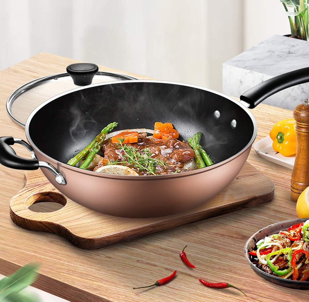 WYQSZ Wok - Home less oil fume wok multi-function durable wok -fry pan 2365 (Design : A) by WYQSZ (Image #3)