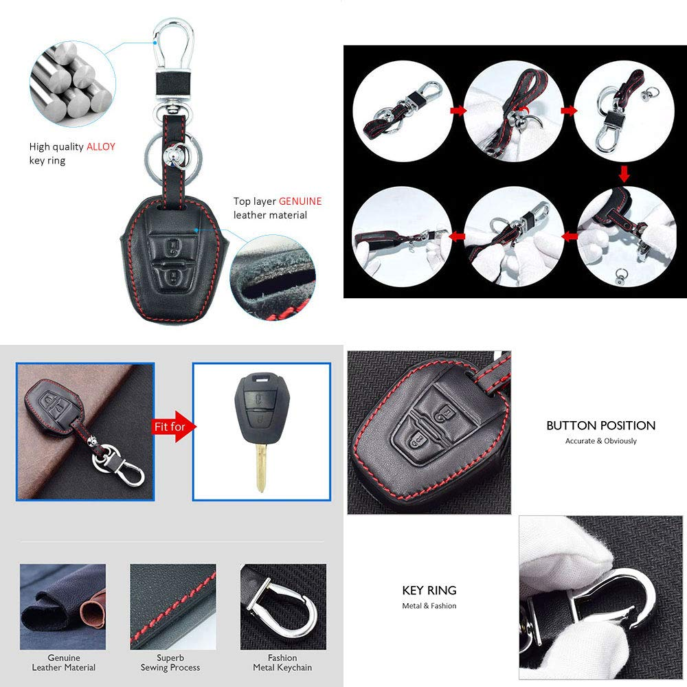 CHAMPLED For New ISUZU D-max Mu-x Protective Car Remote Leather Skin Case Cover Holder Jacket Bag Pouch Fob Hook Protection Key Chain Key Ring