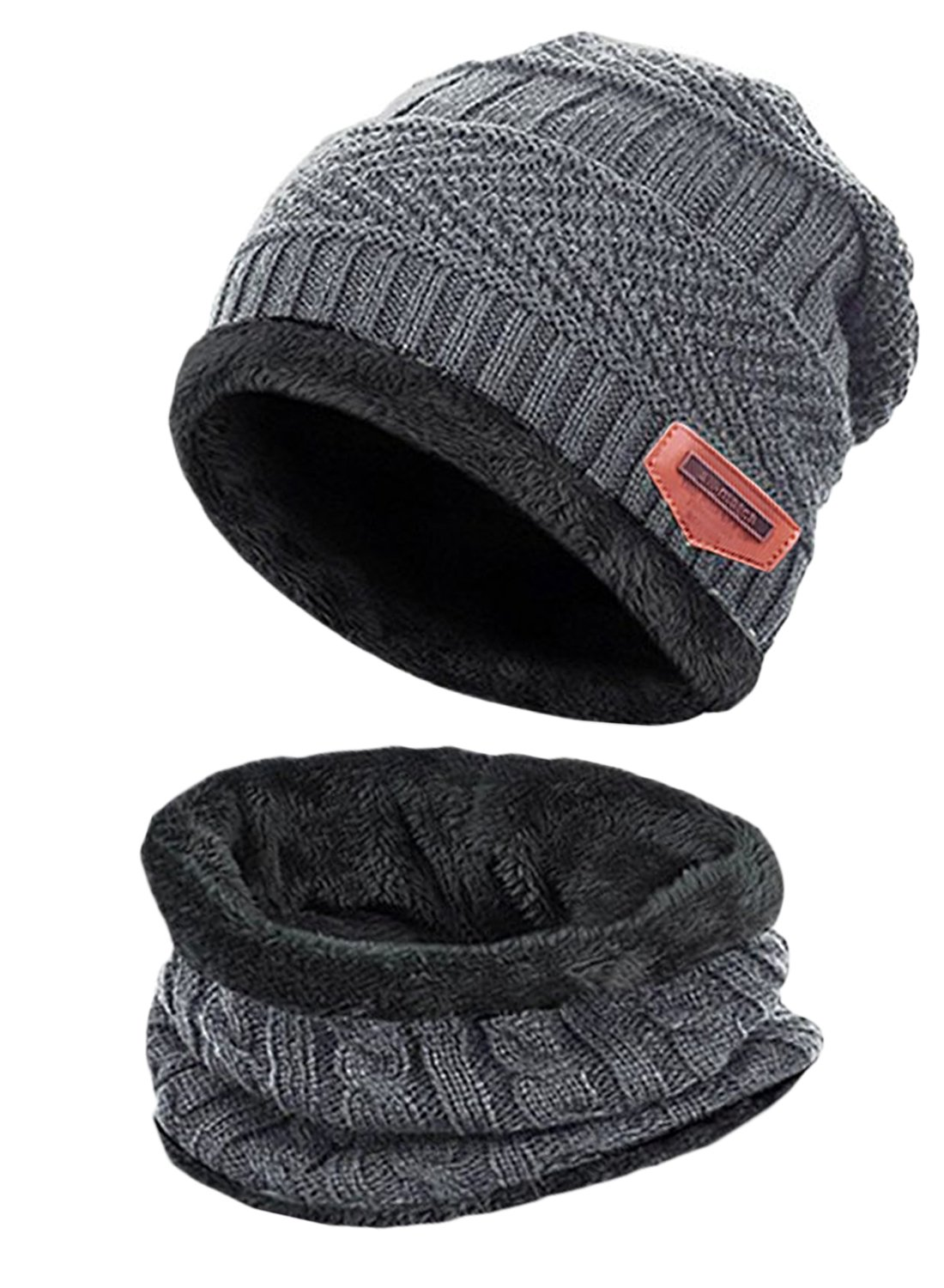 T-wilker 2 Pcs Kids Winter Knitted Hats + Scarf Set Soft Stretch Cable Warm Fleece lining Cap for 5-14 Year Old Boys Girls (Grey)
