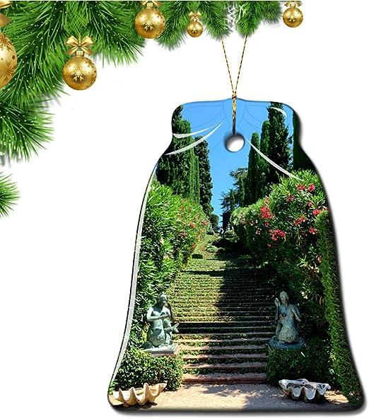 Hqiyaols Ornament España Jardines de Santa Clotilde Lloret de Mar Girona Navidad Adornos Colgantes Pieza Cerámica Forma Campana Recuerdo Ciudad Viaje Regalo: Amazon.es: Hogar