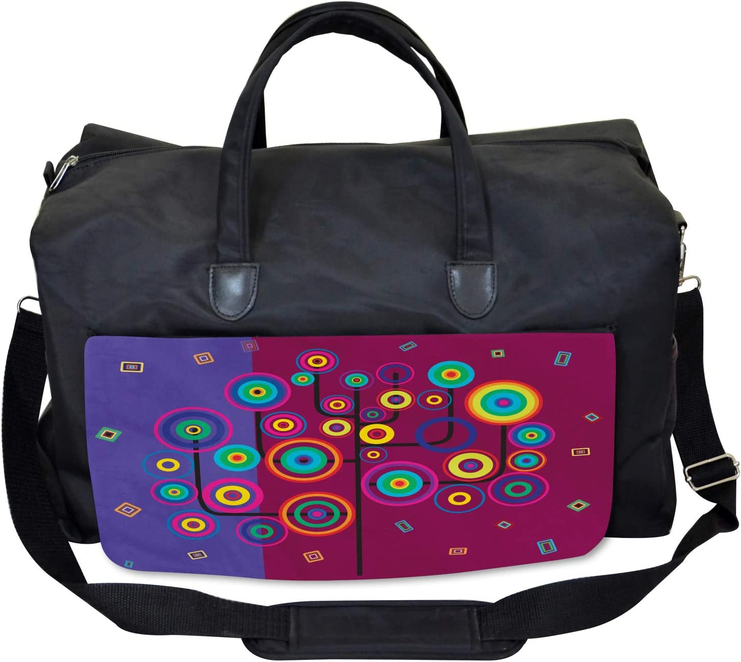 Ambesonne Trippy Gym Bag Geometric Tree Branches Large Weekender Carry-on