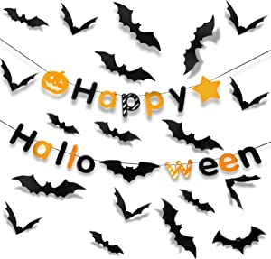 PTG Halloween Indoor Party Supplies,Happy Halloween Banner(1Pcs)& 3D Decoration Scary Bats Wall Decal Wall Sticker(60Pcs)