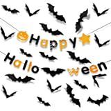 PTG Halloween Indoor Party Supplies,Happy Halloween Banner(1Pcs)& 3D Decoration Scary Bats Wall Decal Wall Sticker(60Pcs…