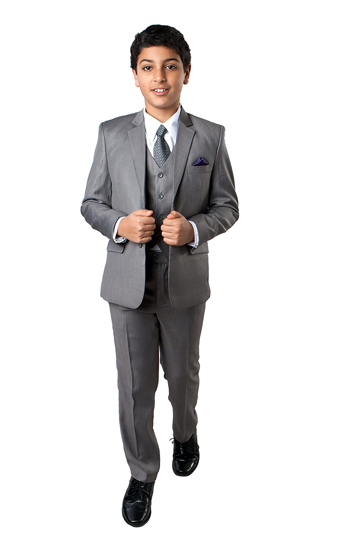 TAZIO Boys 5 Pc Grey Color Tonal Stripe Notch Lapel With Vest,Shirt and Tie supplies