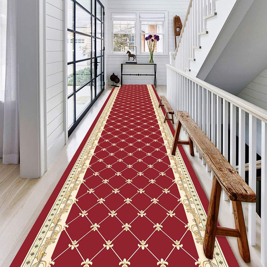 8Mm Cuisine Classical Carpet Tapis de Passage Long Couloirs Rouge Size : 0.8X2m Antid/érapant M/élang/é Pour Couloir