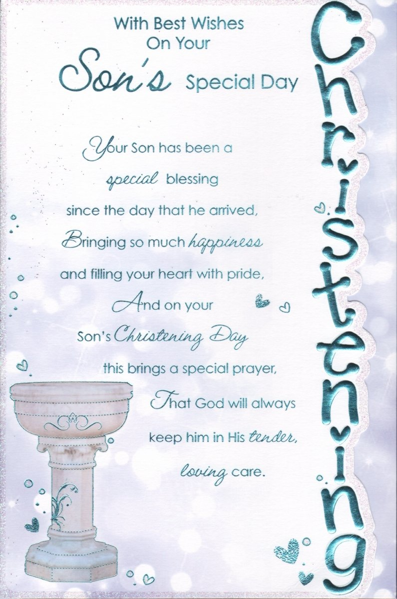 Sons christening card with best wishes on your sons special sons christening card with best wishes on your sons special day amazon office products kristyandbryce Choice Image