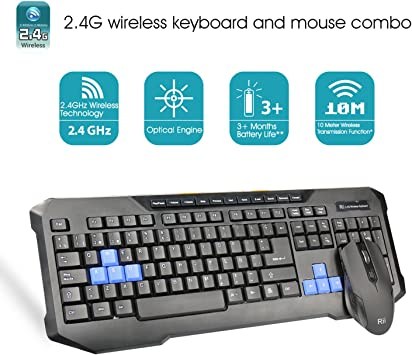 Rii RK200 teclado completo inalámbrico 2.4GHz Con ratón ...
