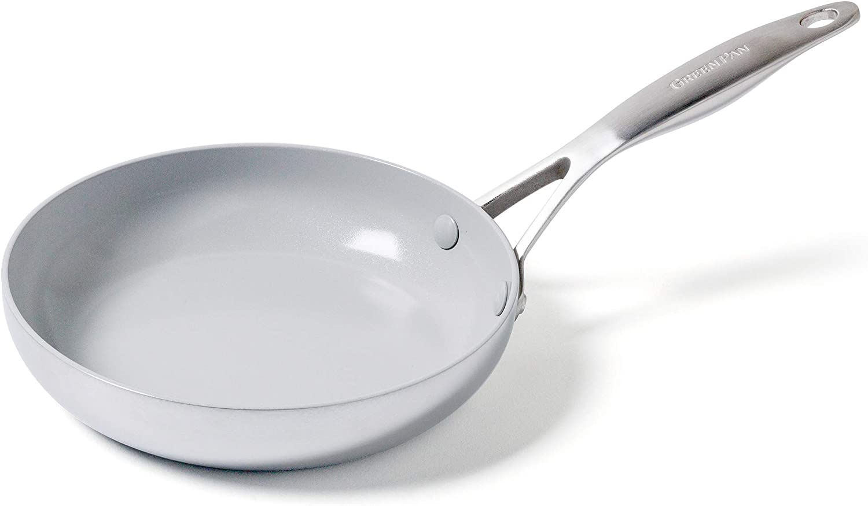 GreenPan Venice Pro Stainless Steel Healthy Ceramic Nonstick Light Gray Frypan, 8