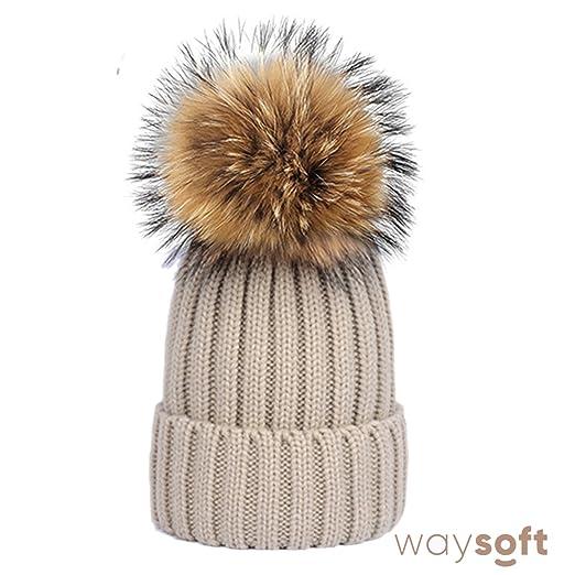 6572b29f9d676 WaySoft Pom Pom Hats – Knit Beanie Hat Matching Ski Beanie Winter Cap Hat  (Beige