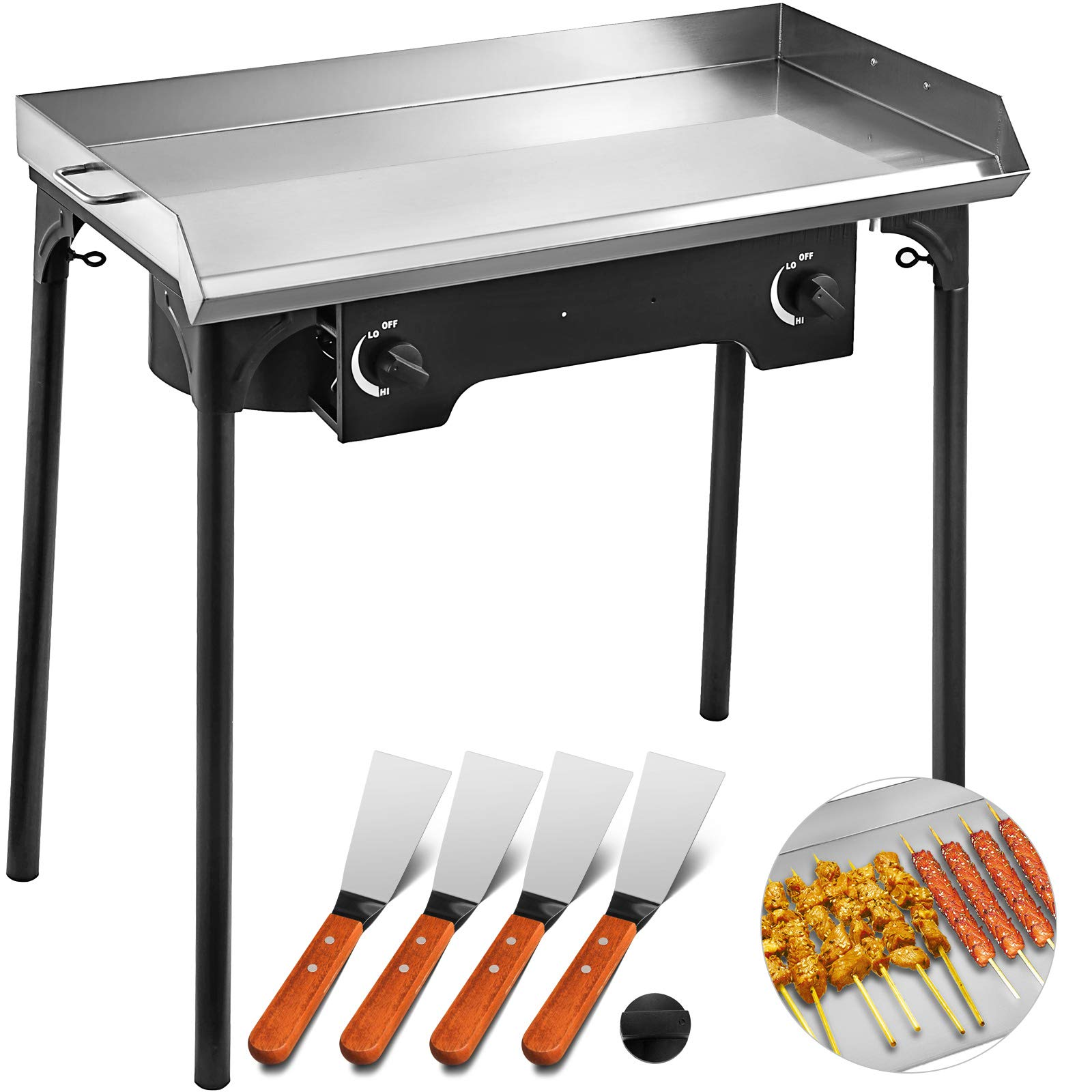VEVOR Flat Top Griddle Grill & Propane Fueled 2 Adjustable Burners Stove 32'' x 17'' Double Burner Stove Griddle Flat Top Stainless Steel with 4 Griddle Spatula & Scraper