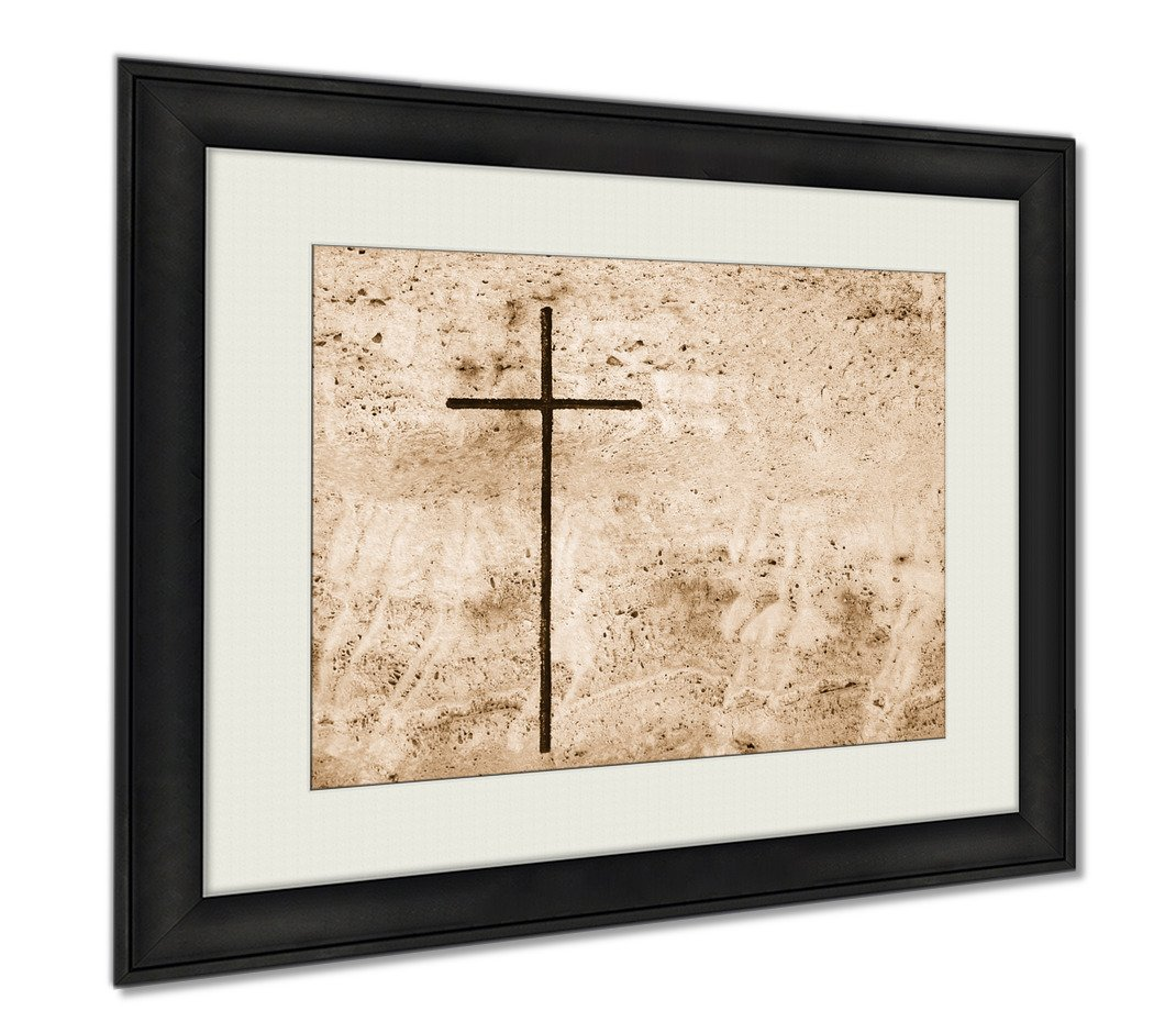 Ashley Framed Prints Cross In Stone, Wall Art Home Decoration, Sepia, 26x30 (frame size), AG5900746