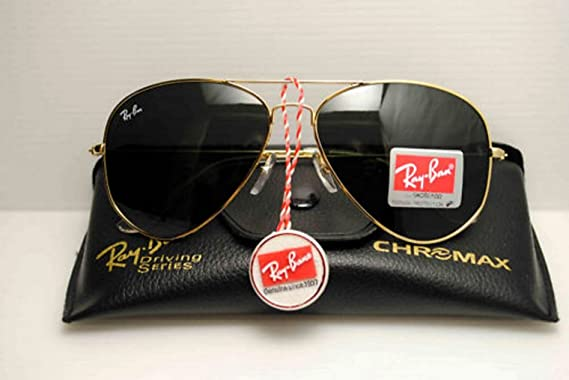 8f7faa4b579b Ray Ban Aviator RB 3025 Gold Frame with Black Lens Sunglasses - Large 62mm   Amazon.co.uk  Clothing