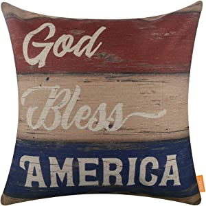LINKWELL Square Throw Pillow Covers Decorative Cushion Case for Sofa Bedroom Car Couch 18 x 18 Inch - God Bless America 4th of July Decor CC1624