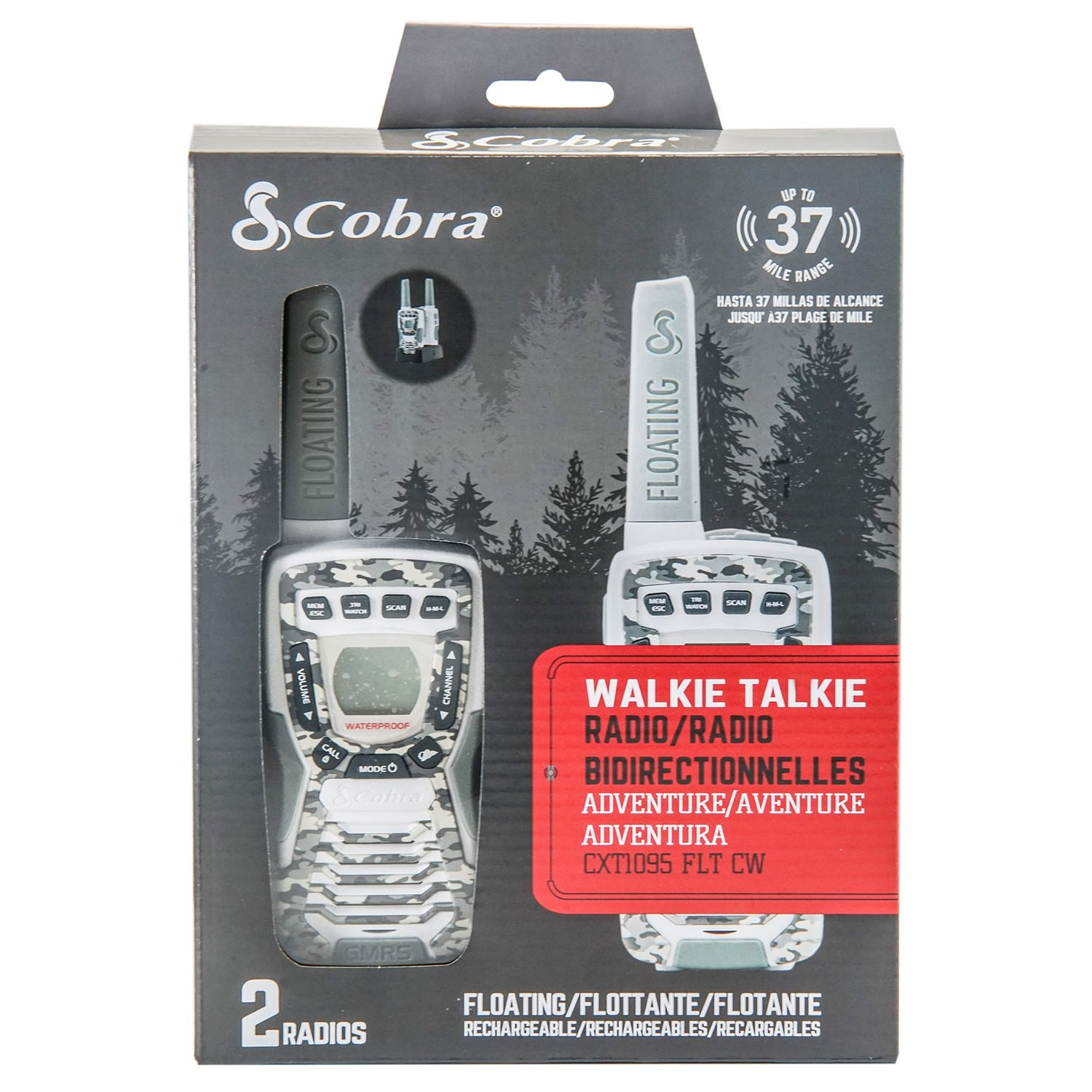 Amazon.com: Cobra CXT1095FLTCW Walkie Talkies 37-Mile Two-Way Radios, Rechargeable (Camo White, Pair): Cell Phones & Accessories