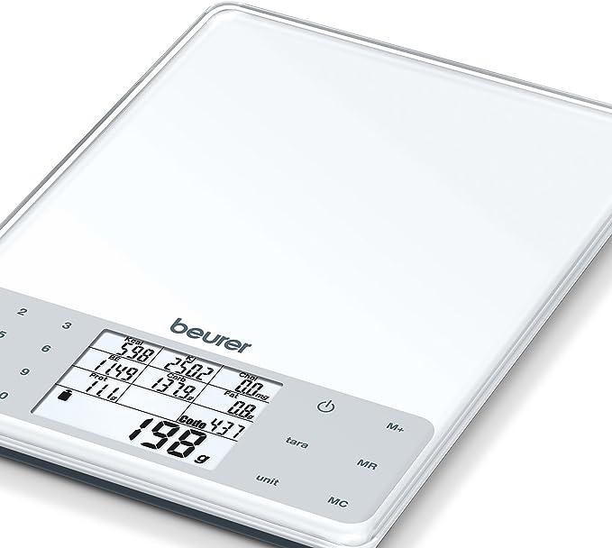 Beurer DS 61 - Balanza de cocina con análisis nutricional, 5kg 1 gr, nivel de grasa, proteínas, colesterol y calorías, auto tara, altura números ...