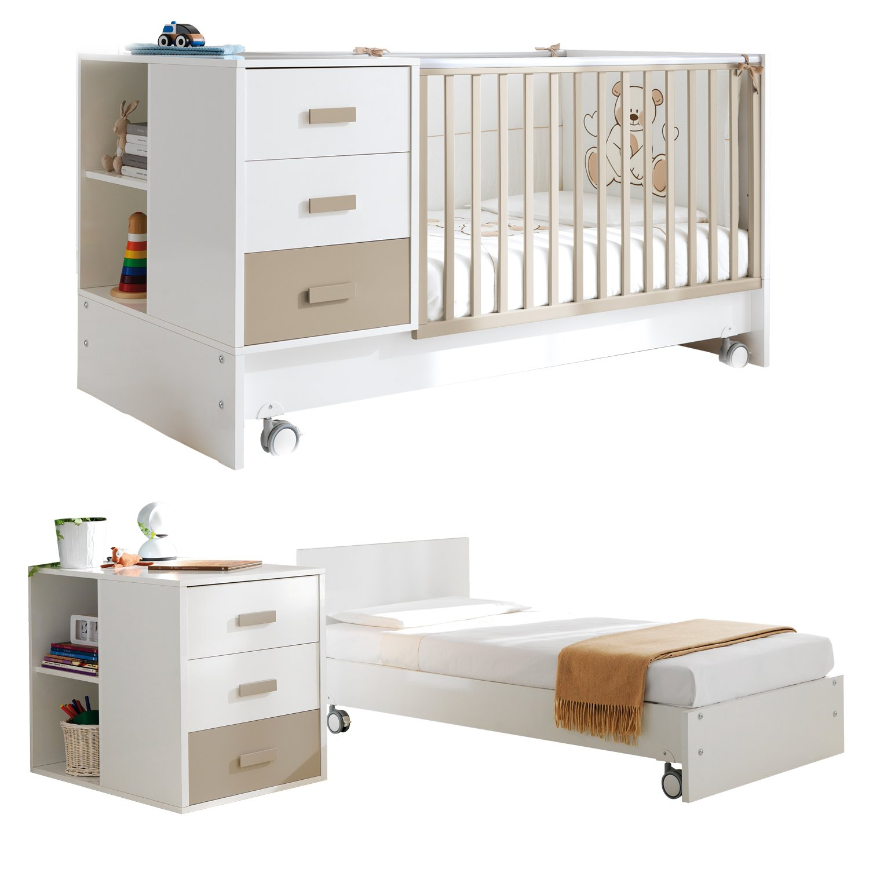 Pali Kinderbett umbaubar zu Jugendbett / Juniorbett mit Nachtschrank Zoom Weiß-Sand