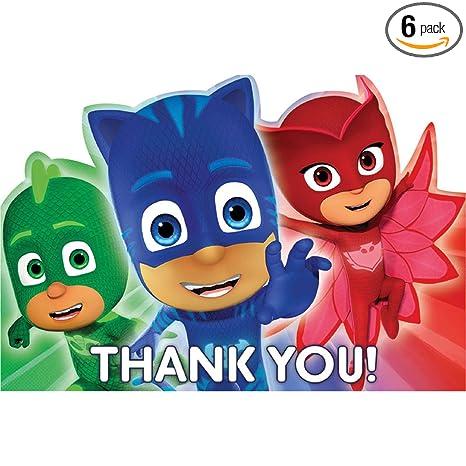 Amazon.com: PJ máscaras notas de agradecimiento (8 CT ...