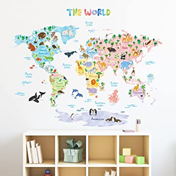 Decowall dlt 1615 animal world map kids wall decals wall stickers peel and stick removable