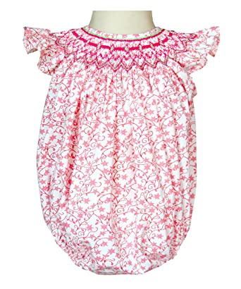 4035bbb7d58 Amazon.com  Baby girls Emma pink smocked bubble romper for infants  Clothing