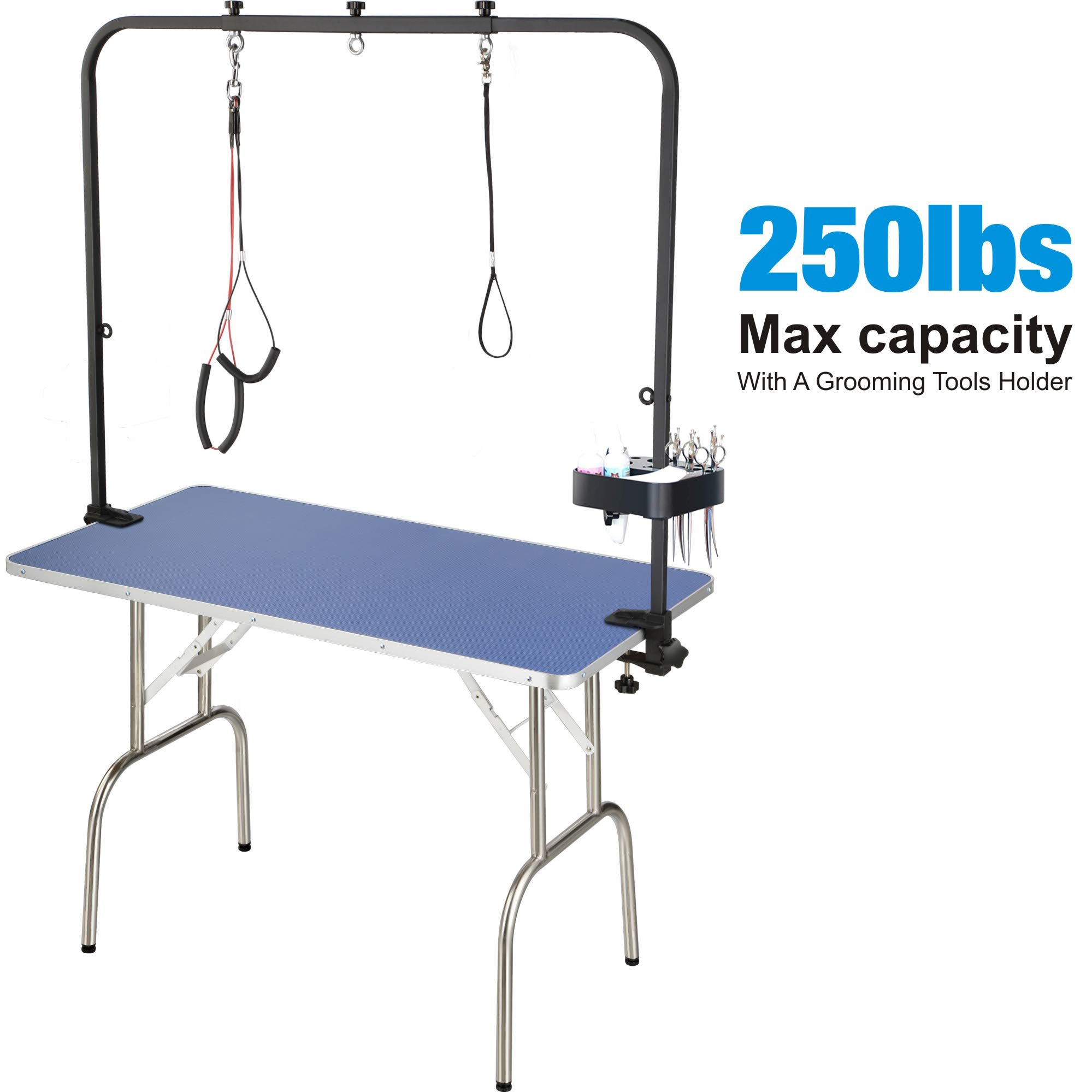 JY QAQA PET Professional Pet Dog Grooming Table with Adjustable Overhead Arm, 46'' Heavy Duty Foldable Stainless Steel Table with Noose,No-Sit Haunch Holder and Tools Holder