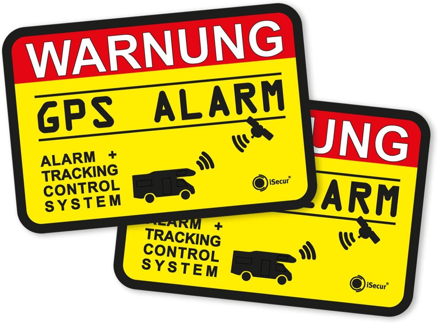 Isecur 2er Set Hinweis Aufkleber Gps Alarm Tracking System I 6 X 4 Cm Innenklebend I Achtung Warnung Gps Alarm Gesichert Wohnmobil Wohnwagen I Hin 438 Auto