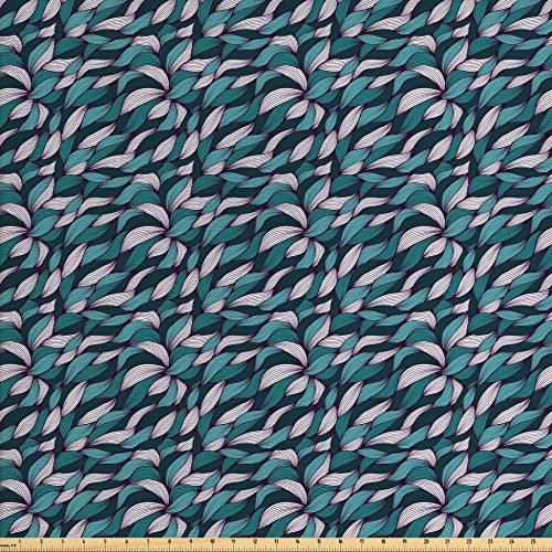 Ambesonne Abstract Fabric by The Yard, Pattern with Joining Lines Tangled Curly Ornament with Contemporary Design, Decorative Fabric for Upholstery and Home Accents, Teal Violet ()