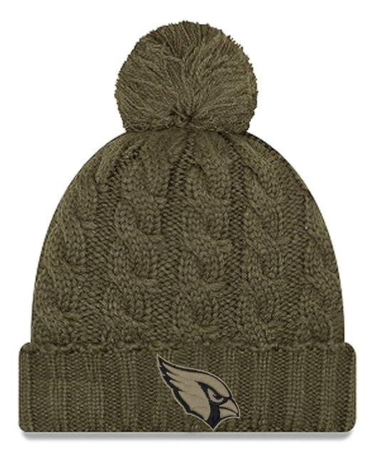 cb60dfaa Amazon.com : New Era Women 2018 Salute to Service Sideline Cuffed Knit Hat  - Olive (Arizona Cardinals) : Clothing