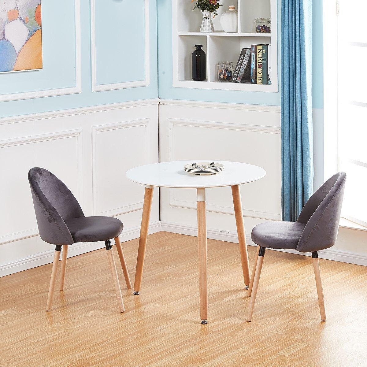 Eggree set di 2 sedie velluto design retr con gambe in for Sedie design ebay